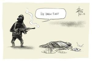 He drew first / Il a dessiné en premier, par David Pope